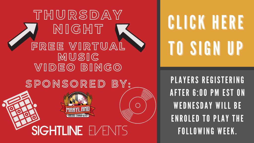 Sightline Events Virtual Music Video Bingo